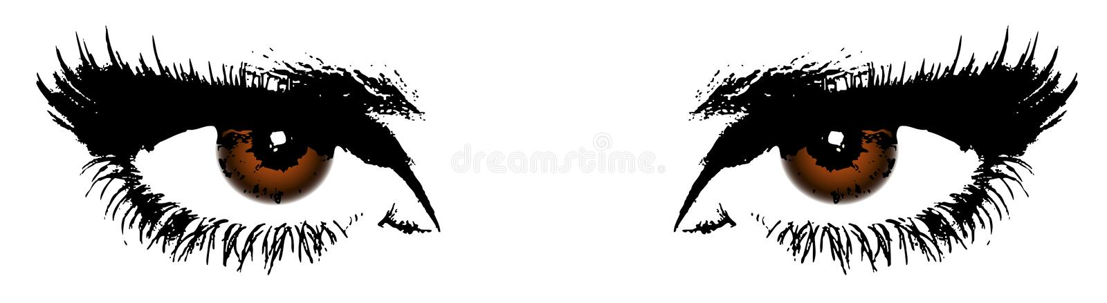 Womens brown eyes. On a with background vector illustration