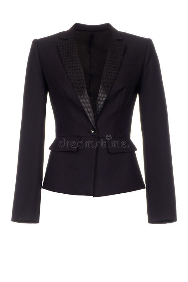 Women`s classic black jacket isolated on white background. Women`s black jacket isolated on white background royalty free stock image