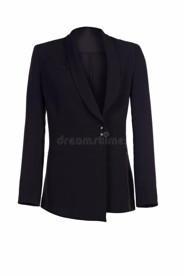 Women`s classic black jacket isolated on white background. Women`s classic jacket isolated on white background royalty free stock images