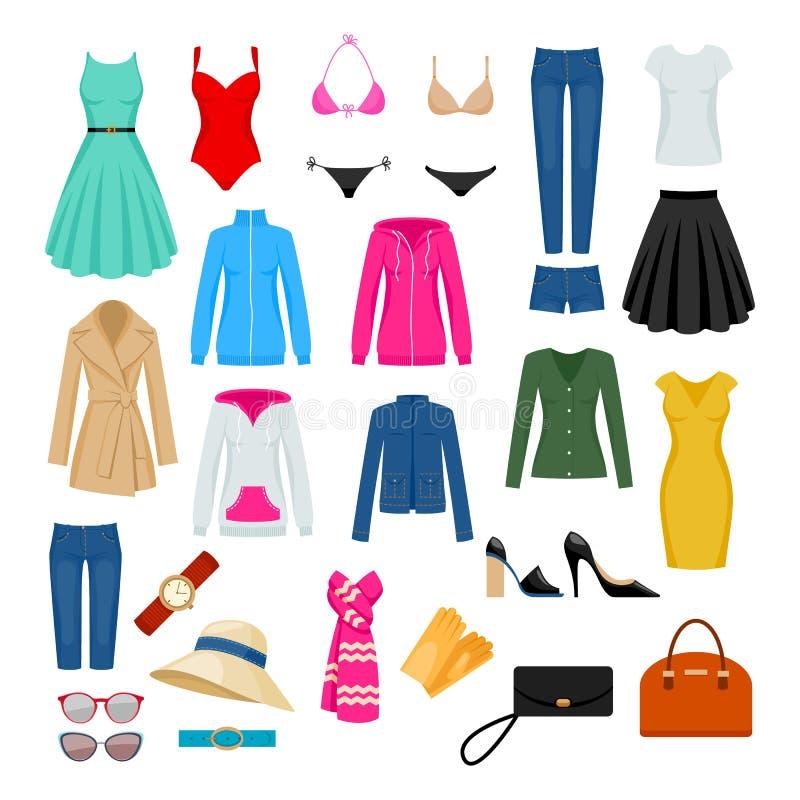 Women`s clothes set. Women`s clothes set vector illustration. Assorted apparel stock illustration
