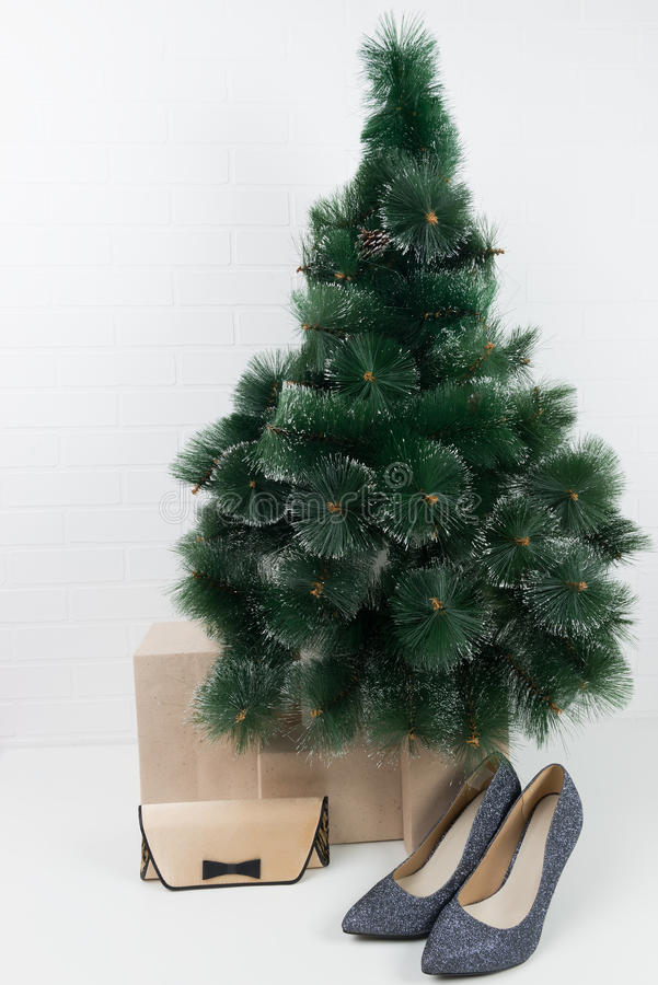 women s clothes under the Christmas tree royalty free stock photo
