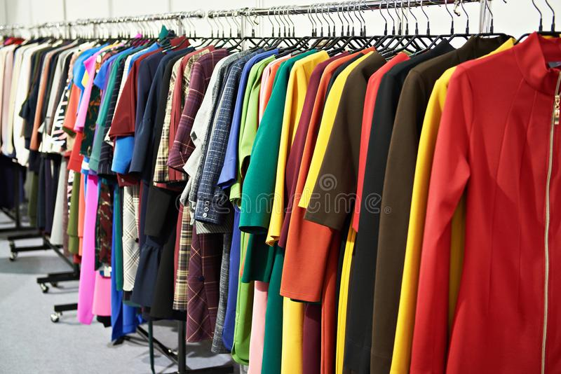 Women`s clothing in store royalty free stock photo