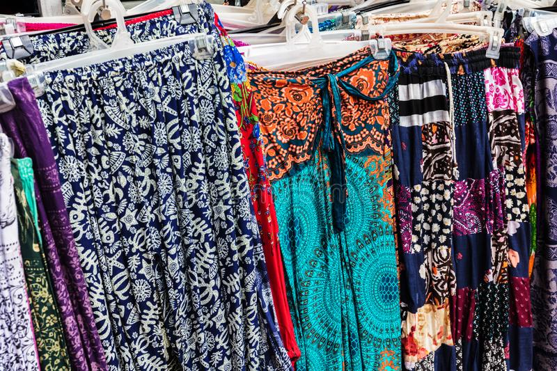 Women's clothing on street market, Cambodia, Siem Reap. Women's clothing on a street market, Cambodia, Siem Reap royalty free stock images