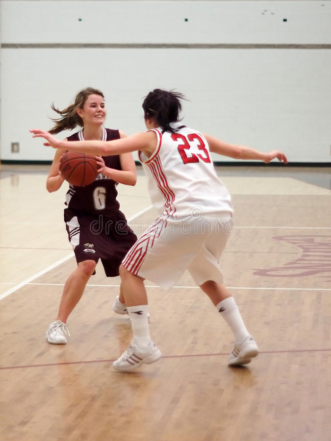 Women's College Basketball. Canadian Women's College Basketball Team, Edmonton's MacEwan Griffons against Calgary's SAIT Trojans royalty free stock photo