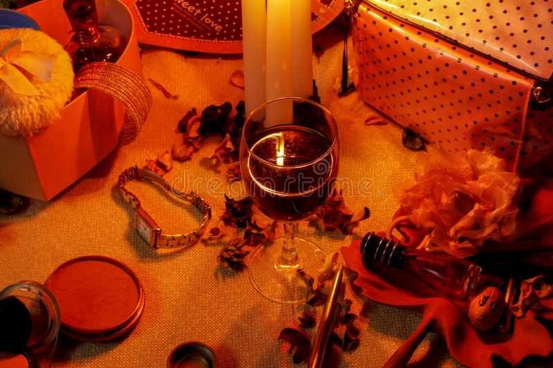 Close up, beautiful composition with candles stock images