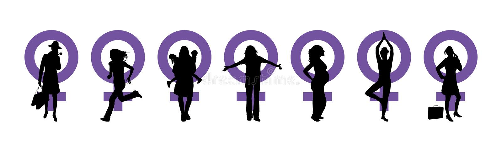Women's Day Banner. Silhouettes of women and venus symbol to represent International Woman's Day