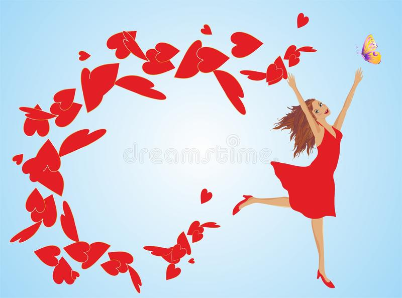 Women's Day. Composition with a woman and hearts on the day of women royalty free illustration
