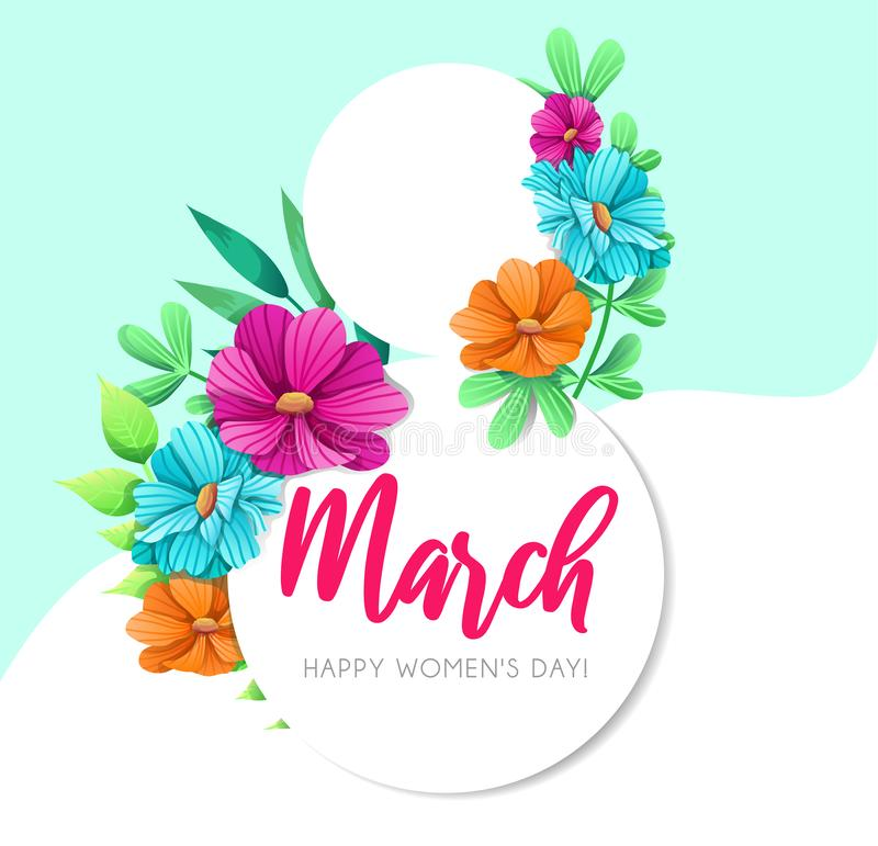 Women`s Day greeting card with flowers. Floral spring design concept. Vector illustration.  vector illustration