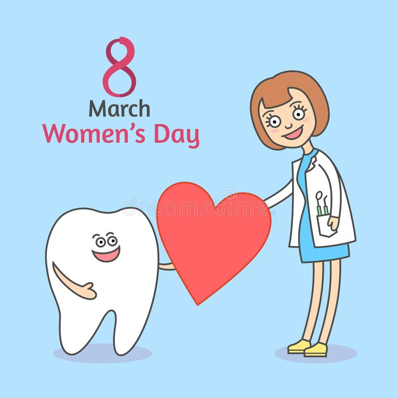 Women`s Day March 8. Cartoon tooth holding a heart and gives it to woman. vector illustration