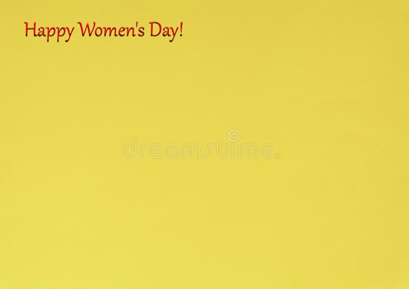 Women`s Day, March 8, Happy Women`s Day Slogan, yellow backgrou stock images