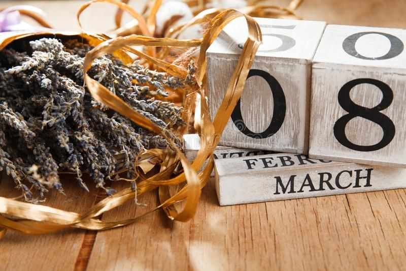 Women`s day March 8 with wooden block calendar stock photos