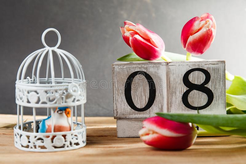 Women`s day March 8 with wooden block calendar royalty free stock photo