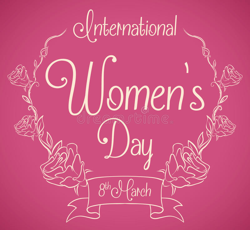 Women's Day Message in Roses Wreath In-line Style, Vector Illustration stock photography