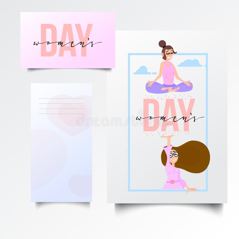 Women`s day, postcard template, with an illustration, girls, success and yoga, in a superhero pose. Isolated objects vector illustration