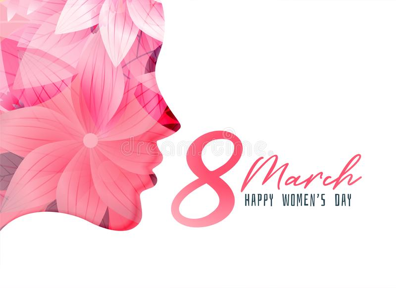 Women`s day poster with girl face made with flower royalty free illustration