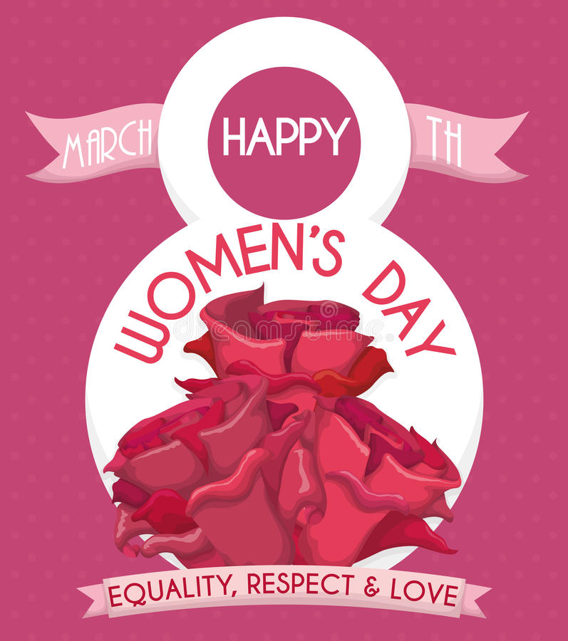 Women's Day Poster with Pink Roses and Ribbons, Vector Illustration royalty free stock photos