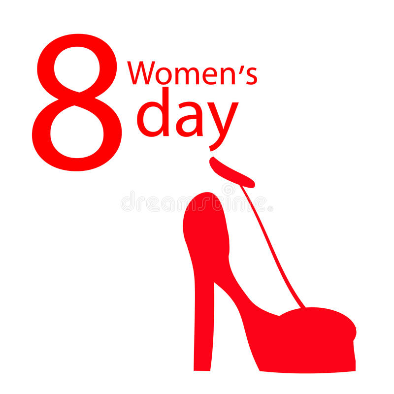 Women s Day red shoe vector illustration