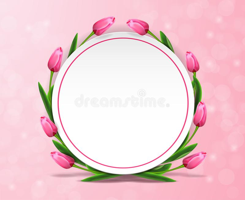 Women`s day sale banner with tulips around circle on pink bokeh background with empty space. vector illustration
