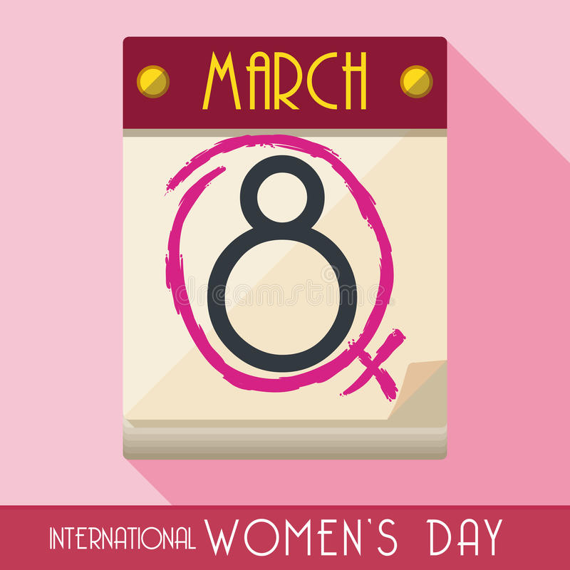 Women's Day Tagged in Calendar in Flat Style, Vector Illustration royalty free illustration