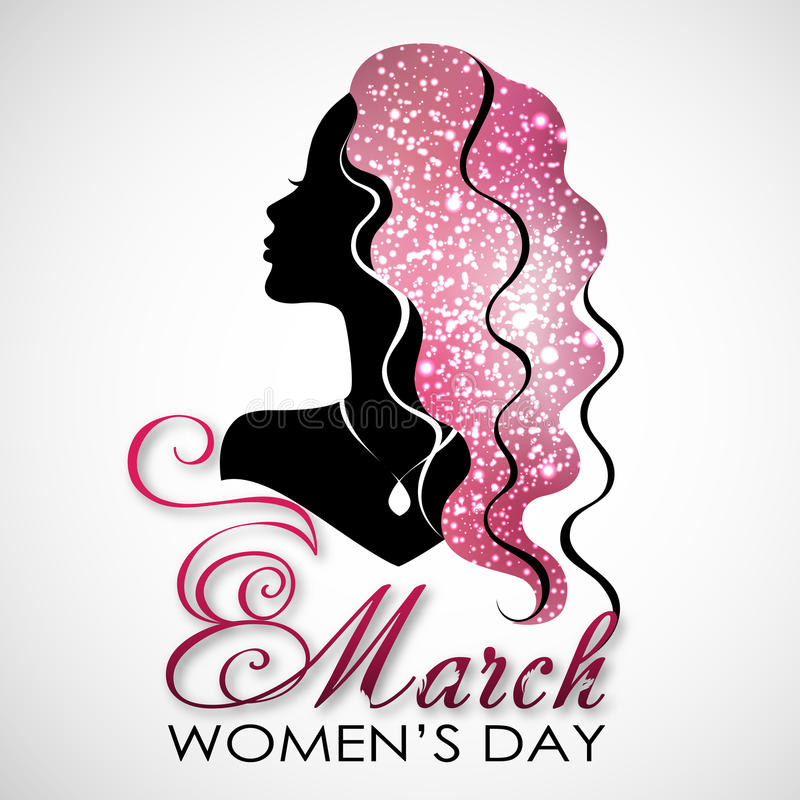 Women`s Day. Vector Greeting Card with Woman Silhouette. The 8th of March vector illustration