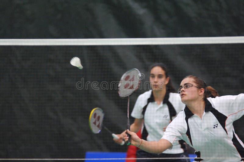 Women´s doubles badminton royalty free stock image