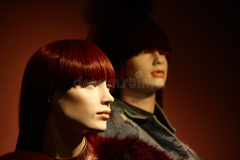 Women`s dummies fashion mannequin in department store stock photography
