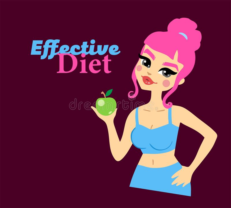 Women`s effective diet. Healthy happy lady character with apple. Body shape. stock illustration