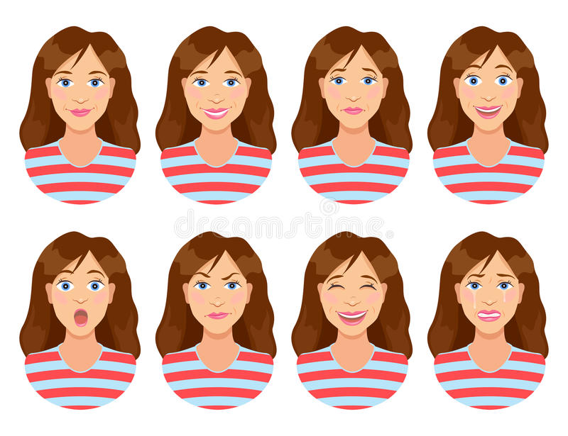 Women`s emotions. Female face expression. Woman avatar. vector illustration