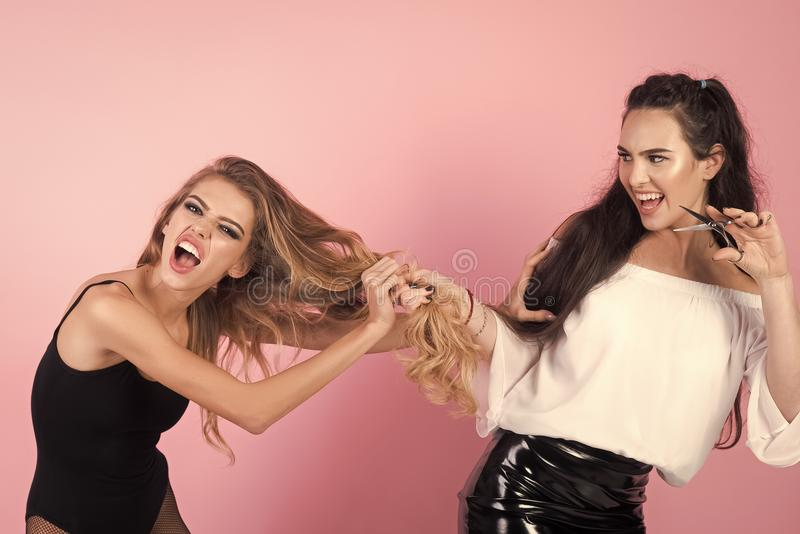 Women`s envy. Fashionable woman posing. Hair stylist making hairstyle to blonde woman royalty free stock image
