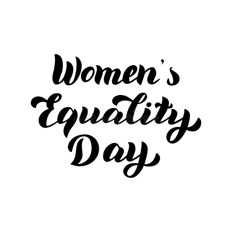 Women`s Equality Day text. Celebration typography card. Feminist holiday. vector illustration