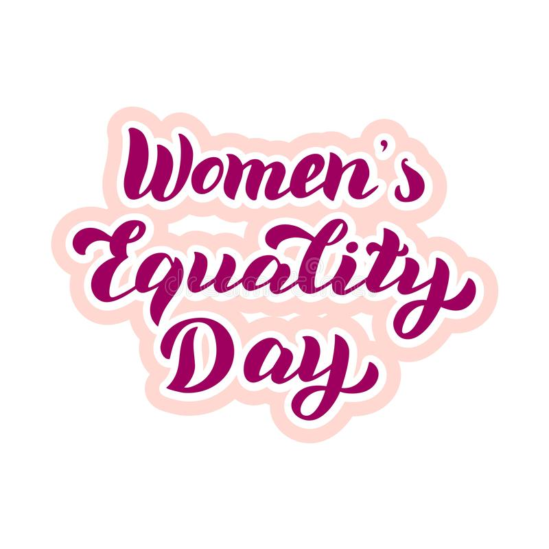 Women`s Equality Day typography sticker. Celebration lettering card. Feminist holiday poster. Vector eps 10 vector illustration