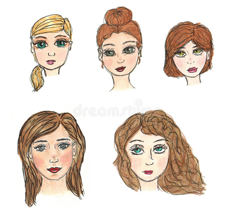 Women's Faces. Hand drawn illustration of women's faces with different hairstyles, makeup and skin tones. Perfect for unique and fun avatars royalty free illustration