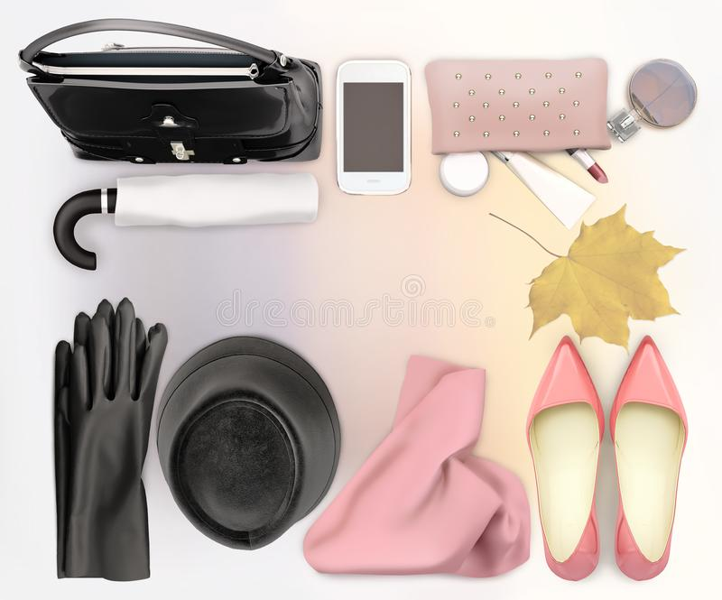 Women`s fashion accessory, skin care and makeup are located on the light background stock photos