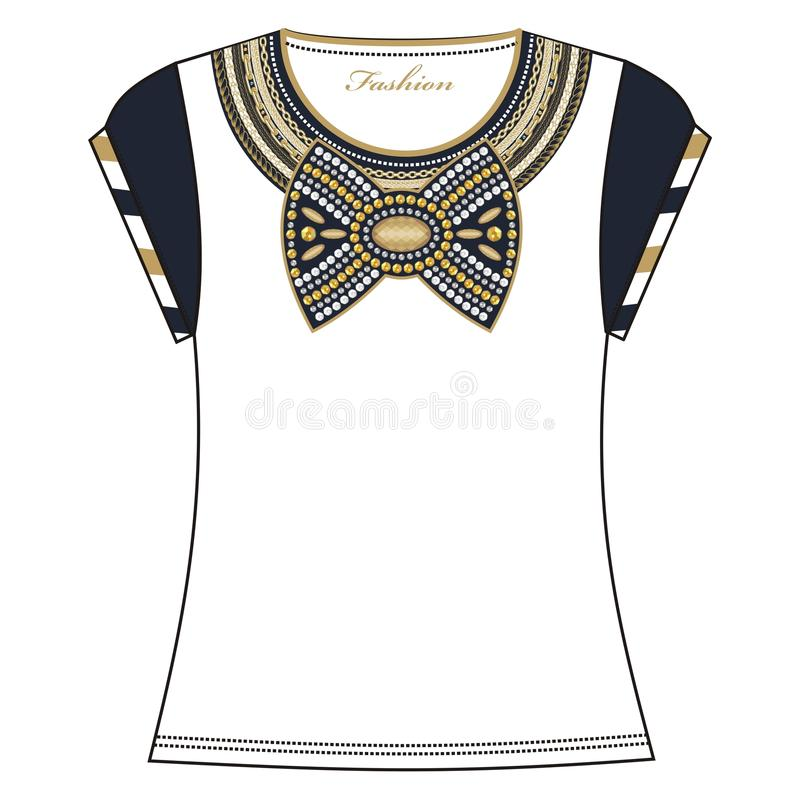 Women's fashion t-shirt embroidered with necklace chains and jewelry bow with rhinestones. Women's fashion t-shirt embroidered with necklace chains and jewelry stock illustration