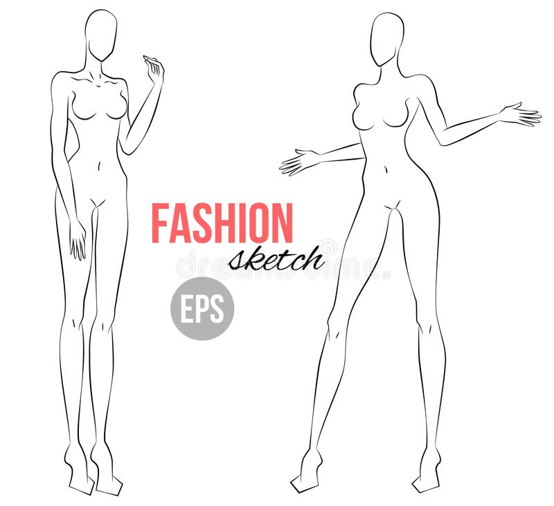 Women S Figure Fashion Sketch Vector Illustration Template For Drawing For Stylist And Designers Stock Vector Illustration Of Beautiful People 108859925