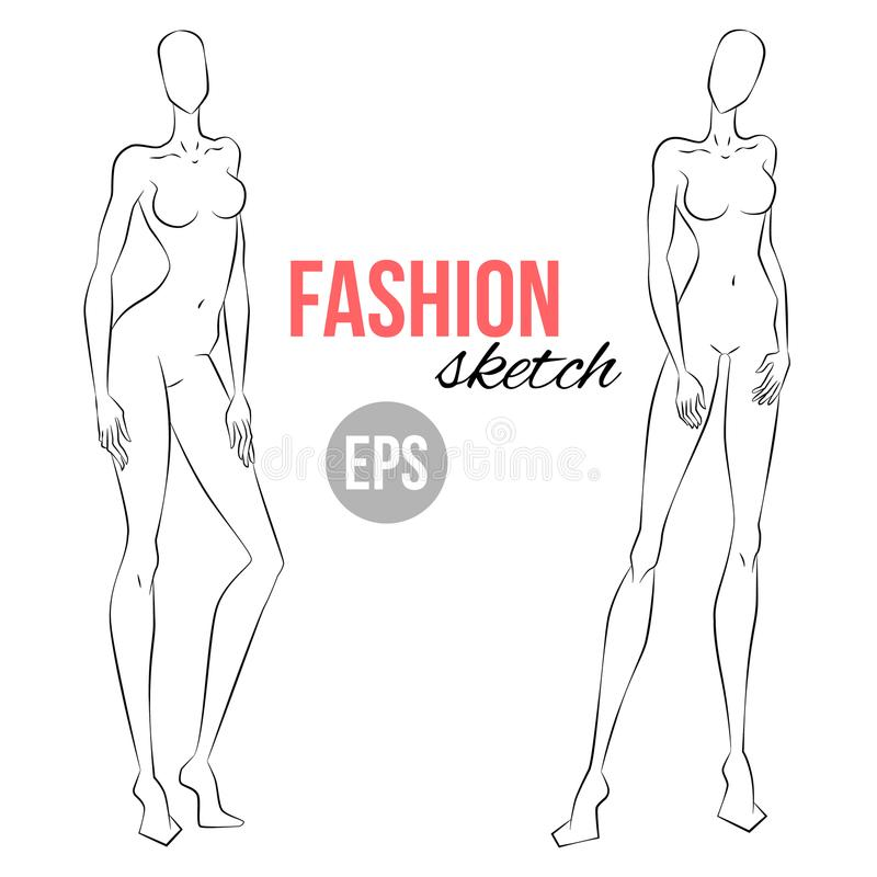 Women`s Figure Sketch. Different Poses. Template For Drawing For ...