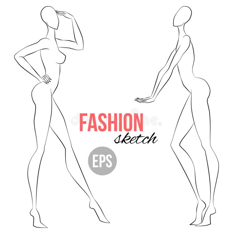 Women`s figure sketch. Different poses. Template for drawing for stylist and designers of clothes. Vector outline girl model templ. Ate for fashion sketching royalty free illustration