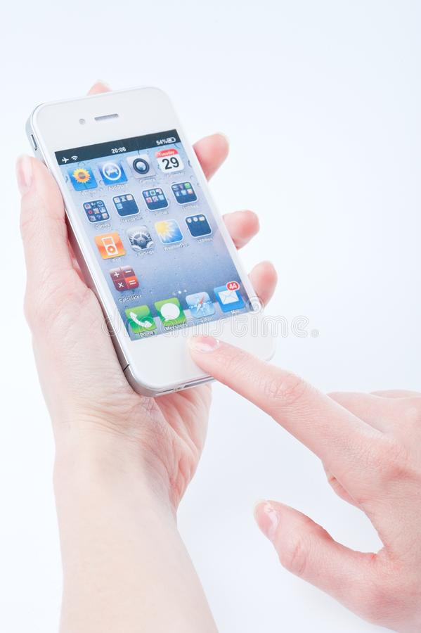 Women S Fingers Keeps White Iphone 4 Editorial Image