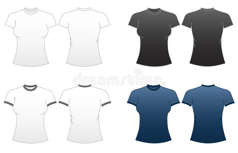Women's Fitted T-shirt Templates-Series 1 vector illustration