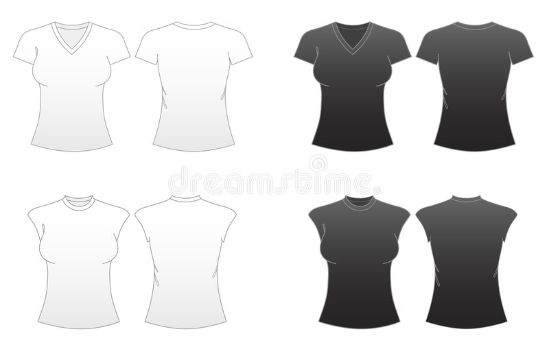 Women's Fitted T-shirt Templates-Series 2 stock illustration