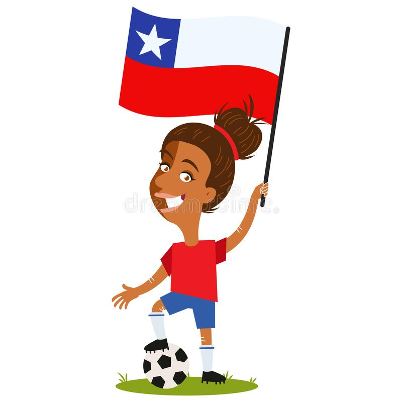 Women`s football, female player for Chile, cartoon woman holding Chilean flag wearing red shirt and blue shorts royalty free illustration