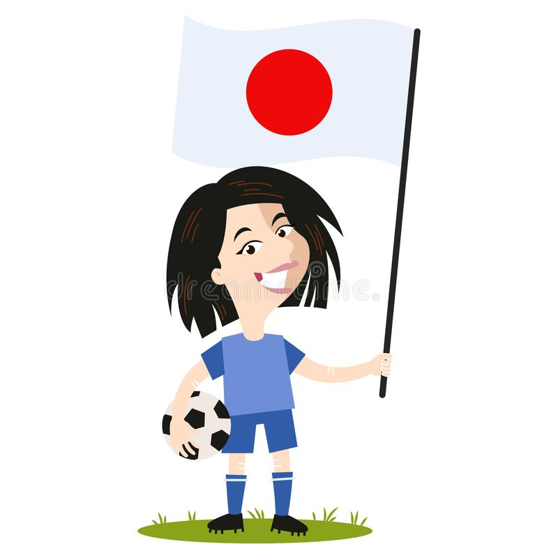 Women`s football, female player for Japan, cartoon woman holding Japanese flag wearing blue shirt and shorts vector illustration