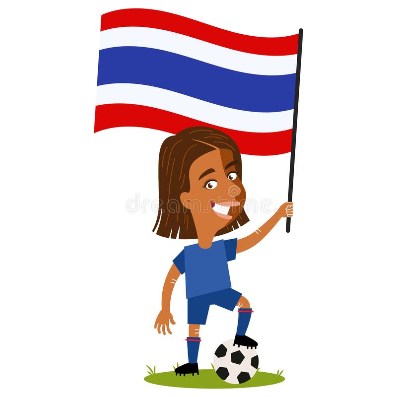 Women`s football, female player for Thailand, cartoon woman holding Thai flag wearing blue shirt and shorts stock illustration