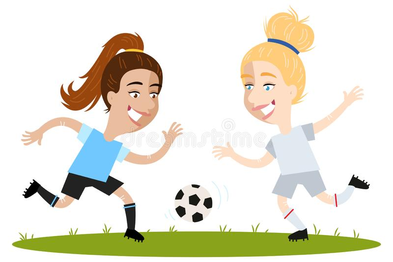 Women`s football, one-on-one battle of competitive female cartoon football players running and chasing after ball. Isolated on white background stock illustration