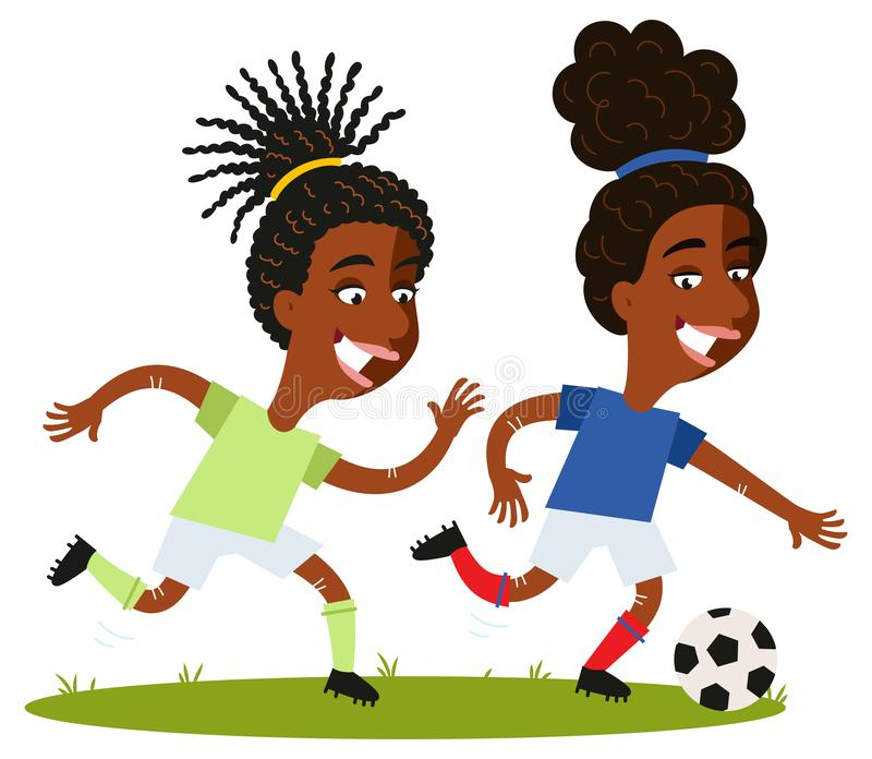 Women`s football, one-on-one battle of two competitive female cartoon players running and chasing after ball. Women`s football, one-on-one battle of two stock illustration