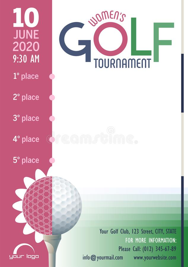 Women`s Golf Tournament poster template. Place for your text message. vector illustration