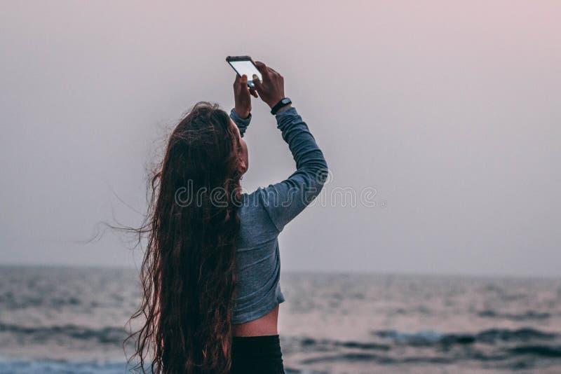 Women's Gray Long-sleeved Shirt royalty free stock photos