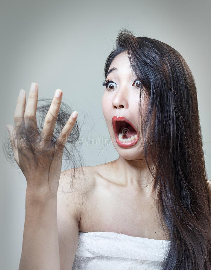 Dry hair. Women`s hair health and dry hair stock image