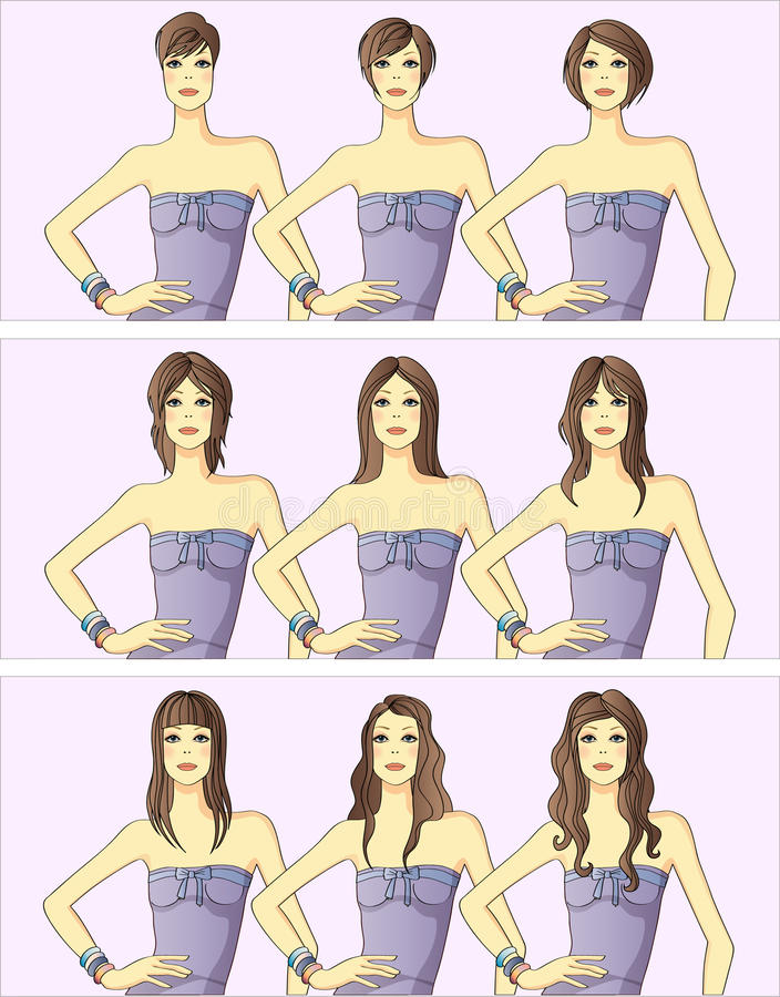 womens hairstyles royalty free illustration