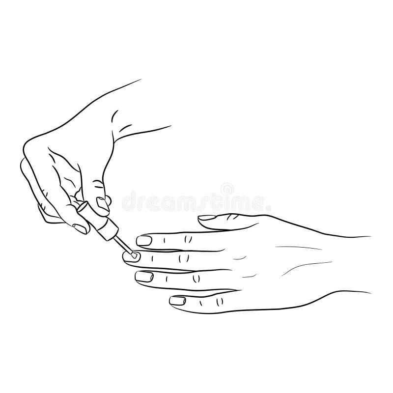 Women`s hands applying tassel manicure from black brush lines on. White background of illustrations stock illustration